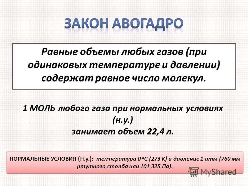 Равные объемы любых газов (при одинаковых температуре и давлении) содержат равное число молекул. 1 МОЛЬ любого газа при нормальных условиях (н.у.) занимает объем 22,4 л. НОРМАЛЬНЫЕ УСЛОВИЯ (Н.у.): температура 0 о С (273 K) и давление 1 атм (760 мм рт