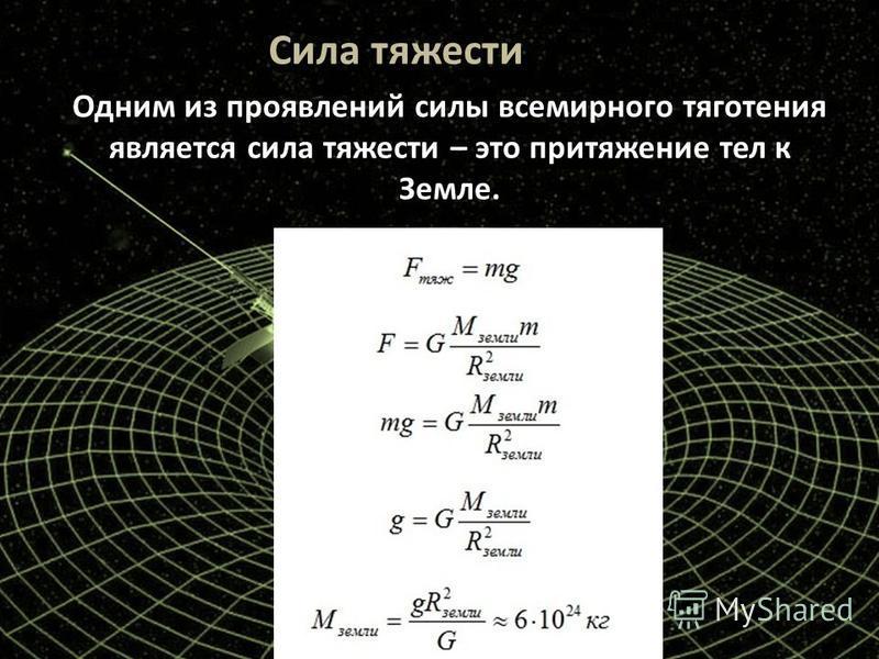 Сила тяжести Одним из проявлений силы всемирного тяготения является сила тяжести – это притяжение тел к Земле.