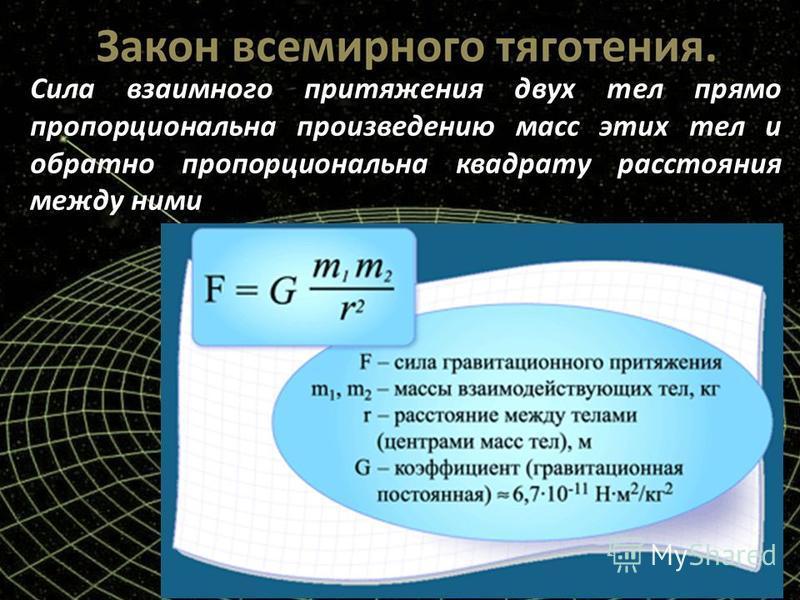пропорциональна произведению масс этих тел и обратно пропорциональна квадрату расстояния между ними Сила взаимного притяжения двух тел прямо пропорциональна произведению масс этих тел и обратно пропорциональна квадрату расстояния между ними