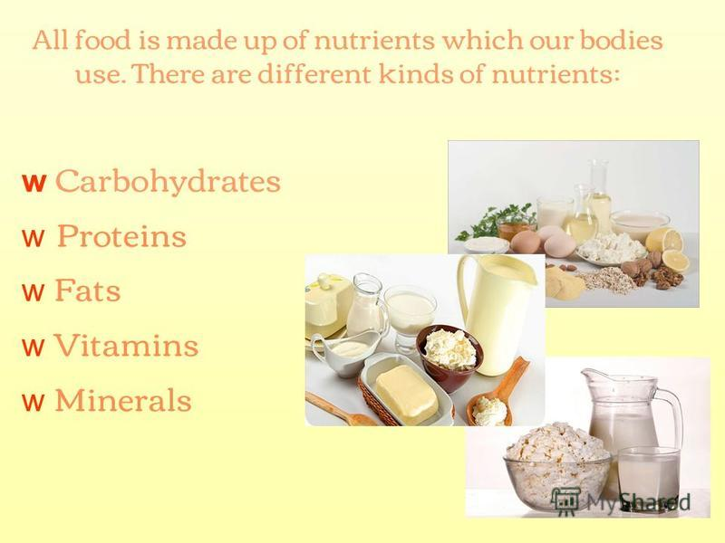 All food is made up of nutrients which our bodies use. There are different kinds of nutrients: w Carbohydrates w Proteins w Fats w Vitamins w Minerals