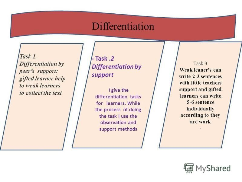 Differentiation Task 3 Weak leaner's can write 2-3 sentences with little teachers support and gifted learners can write 5-6 sentence individually according to they are work. - Task.2 Differentiation by support I give the differentiation tasks for lea