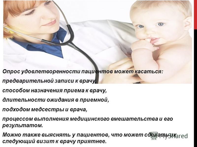 Опрос удовлетворенности пациентов может касаться: предварительной записи к врачу, способом назначения приема к врачу, длительности ожидания в приемной, подходом медсестры и врача, процессом выполнения медицинского вмешательства и его результатом. Мож