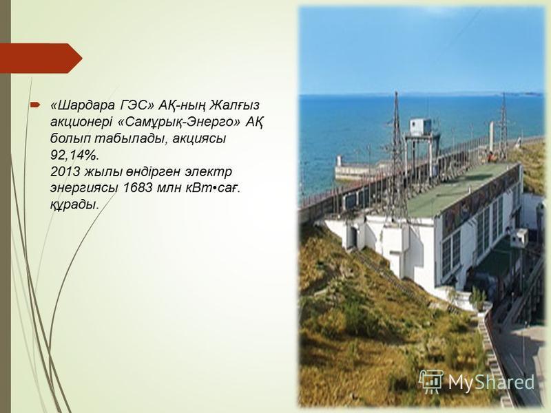 «Шардара ГЭС» АҚ-ның Жалғыз акционері «Самұрық-Энерго» АҚ болып табылады, акциясы 92,14%. 2013 жилы өндірген электр энергиясы 1683 млн к Втсағ. құрады.