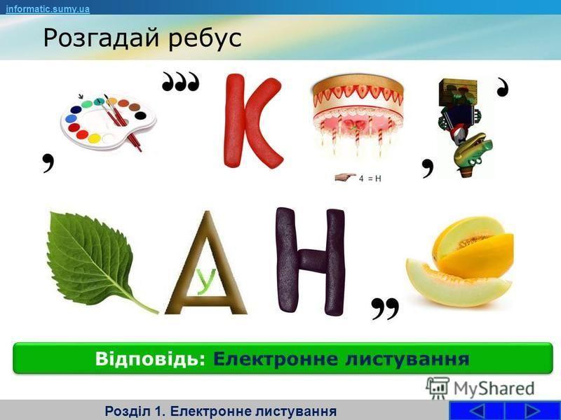 Розгадай ребус Розділ 1. Електронне листування Відповідь: Електронне листування informatic.sumy.ua