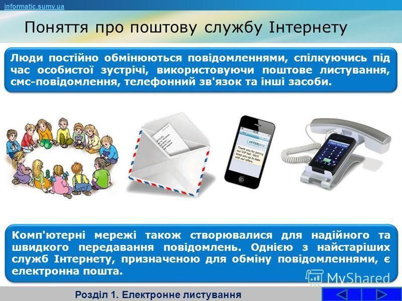 Поняття про поштову службу Інтернету Розділ 1. Електронне листування Люди постійно обмінюються повідомленнями, спілкуючись під час особистої зустрічі, використовуючи поштове листування, смс-повідомлення, телефонний зв'язок та інші засоби. informatic.