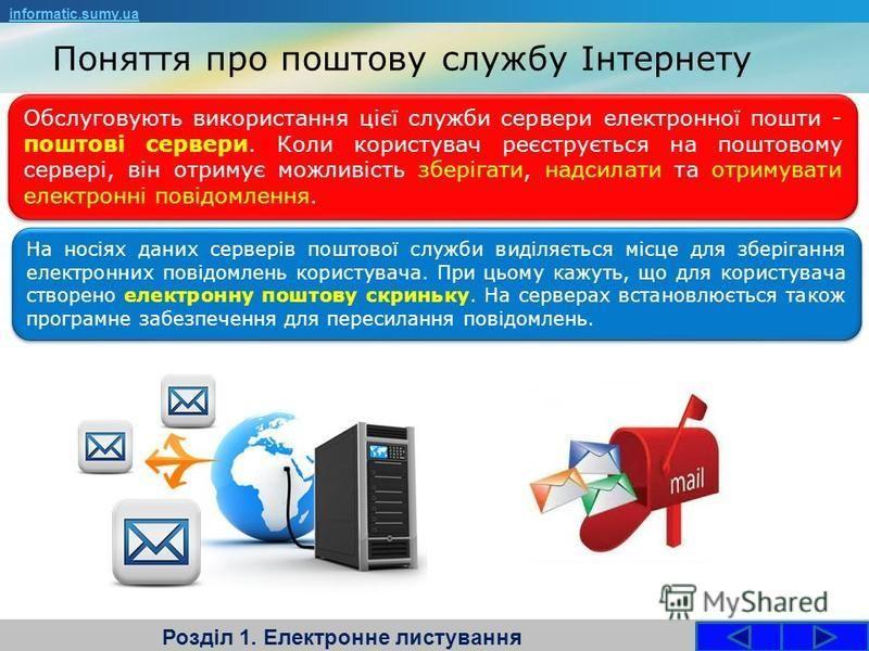 Поняття про поштову службу Інтернету Розділ 1. Електронне листування Обслуговують використання цієї служби сервери електронної пошти - поштові сервери. Коли користувач реєструється на поштовому сервері, він отримує можливість зберігати, надсилати та