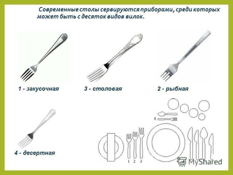 Современные столы сервируются приборами, среди которых может быть с десяток видов вилок. 3 - столовая 1 - закусочная 2 - рыбная 4 - десертная