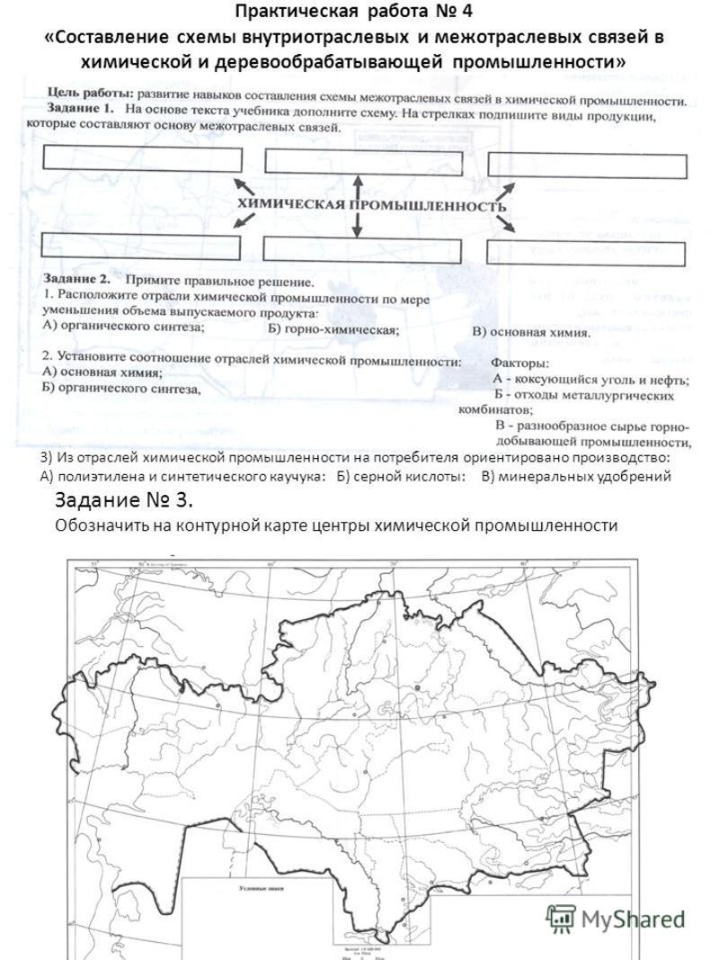 Практическая работа 4 «Составление схемы внутриотраслевых и межотраслевых связей в химической и деревообрабатывающей промышленности» Задание 3. Обозначить на контурной карте центры химической промышленности 3) Из отраслей химической промышленности на