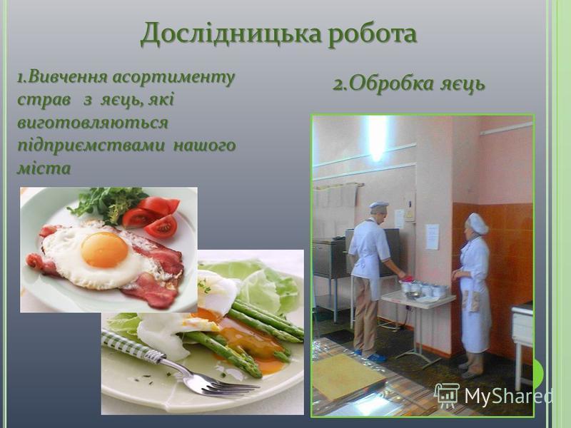 2.Обробка яєць Дослідницька робота 1.Вивчення асортименту страв з яєць, які виготовляються підприємствами нашого міста