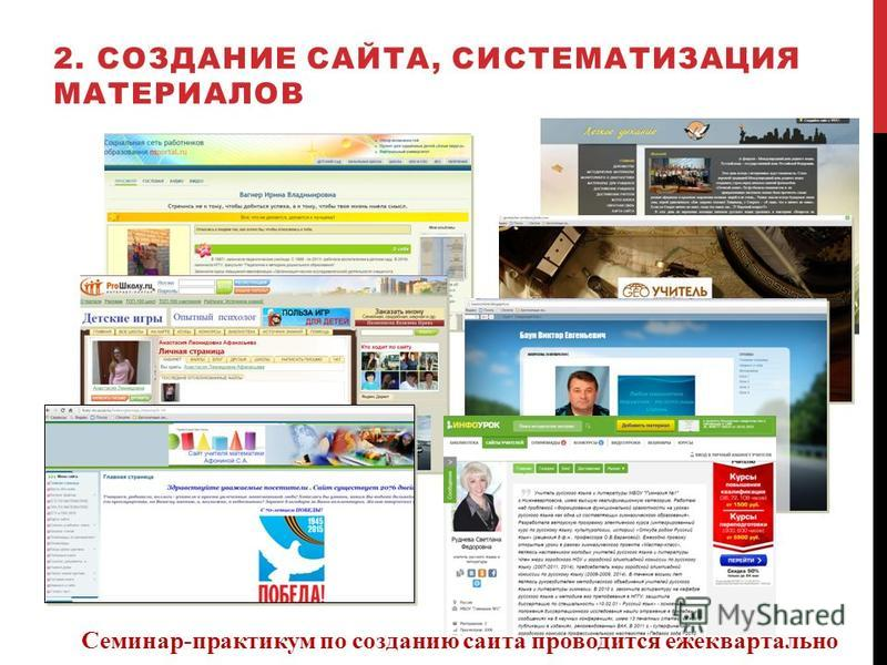 2. СОЗДАНИЕ САЙТА, СИСТЕМАТИЗАЦИЯ МАТЕРИАЛОВ Семинар-практикум по созданию сайта проводится ежеквартально