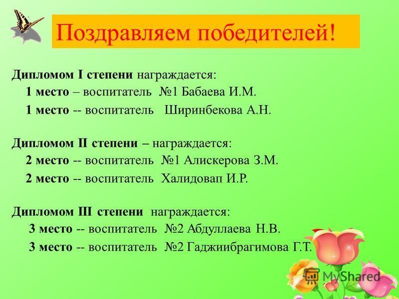 Поздравляем победителей! Дипломом I степени награждается: 1 место – воспитатель 1 Бабаева И.М. 1 место -- воспитатель Ширинбекова А.Н. Дипломом II степени – награждается: 2 место -- воспитатель 1 Алискерова З.М. 2 место -- воспитатель Халидовап И.Р.