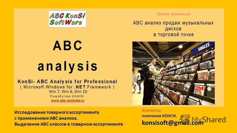 Исследование товарного ассортимента с применением ABC анализа. Выделение АБС классов в товарном ассортименте Win 7, Win 8, Win 10 Контакты: компания КОНСИ, konsisoft@gmail.com
