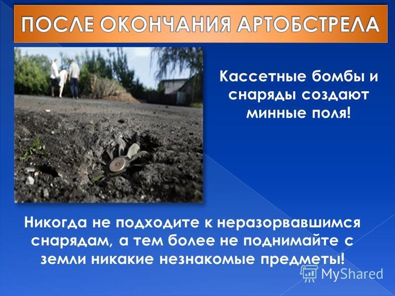 Никогда не подходите к неразорвавшимся снарядам, а тем более не поднимайте с земли никакие незнакомые предметы! Кассетные бомбы и снаряды создают минные поля!