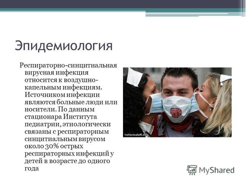 Эпидемиология Респираторно-синцитиальная вирусная инфекция относится к воздушно- капельным инфекциям. Источником инфекции являются больные люди или носители. По данным стационара Института педиатрии, этиологический связаны с респираторным синцитиальн