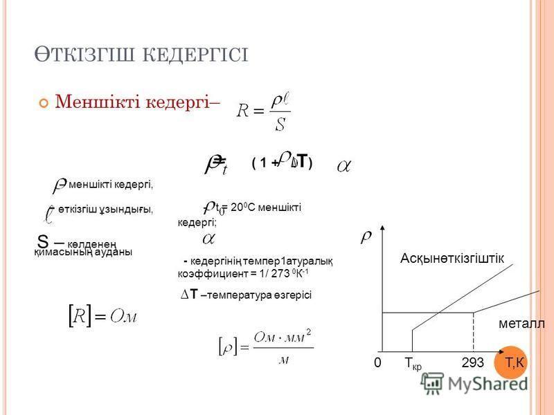 Ө ТКІЗГІШ КЕДЕРГІСІ Меншікті кедергі– – меншікті кедергі, - өткізгіш ұзындығы, S – көлденең қимасының ауданы = ( 1 + Т ) - t = 20 0 С меншікті кедергі; - кедергінің темпер1атуралық коэффициент = 1/ 273 0 К -1 Т –температура өзгерісі Т,К0 металл Асқын