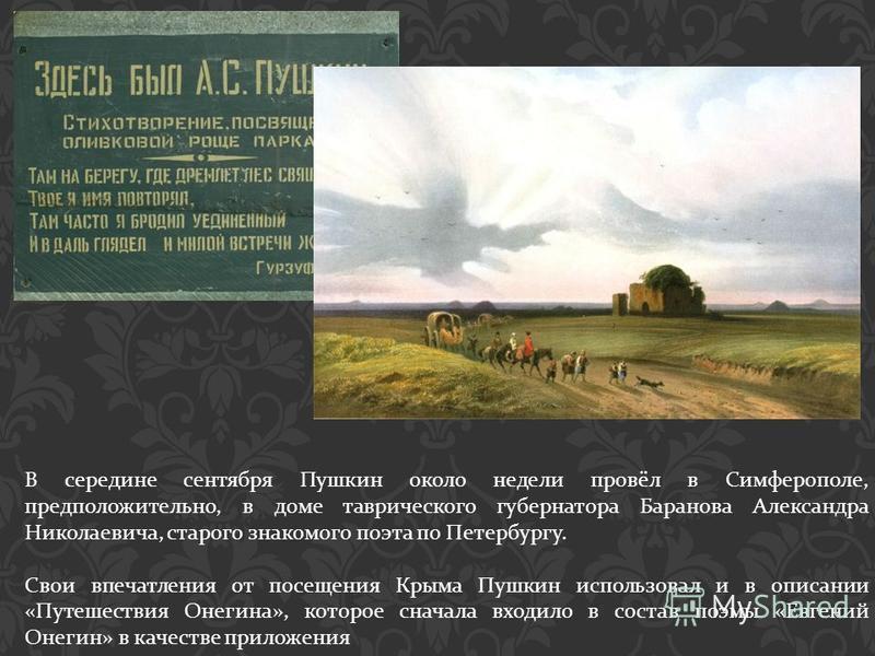 В середине сентября Пушкин около недели провёл в Симферополе, предположительно, в доме таврического губернатора Баранова Александра Николаевича, старого знакомого поэта по Петербургу. Свои впечатления от посещения Крыма Пушкин использовал и в описани