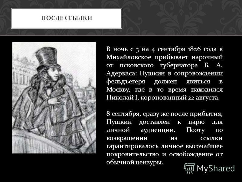ПОСЛЕ ССЫЛКИ В ночь с 3 на 4 сентября 1826 года в Михайловское прибывает нарочный от псковского губернатора Б. А. Адеркаса : Пушкин в сопровождении фельдъегеря должен явиться в Москву, где в то время находился Николай I, коронованный 22 августа. 8 се