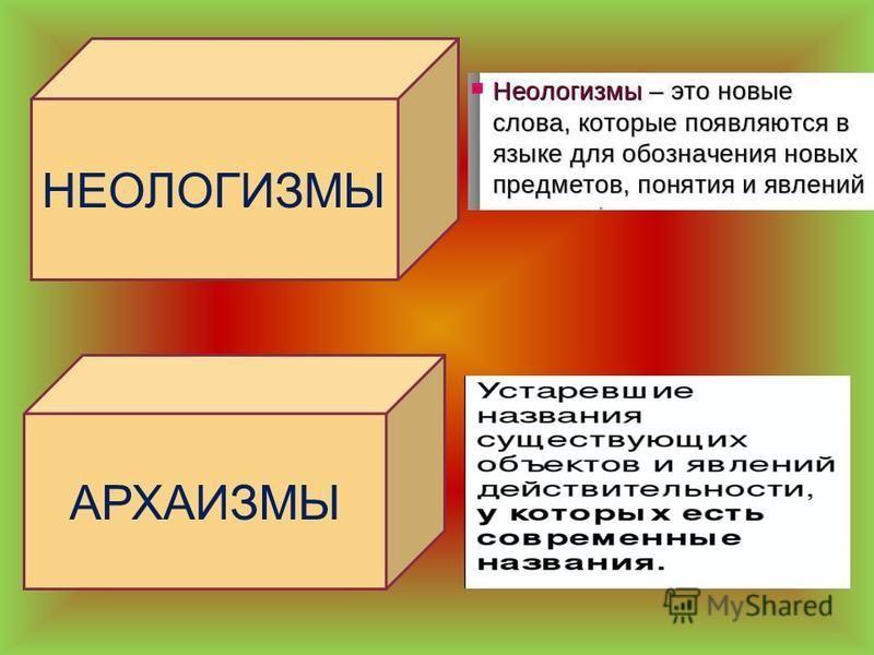 НЕОЛОГИЗМЫ АРХАИЗМЫ