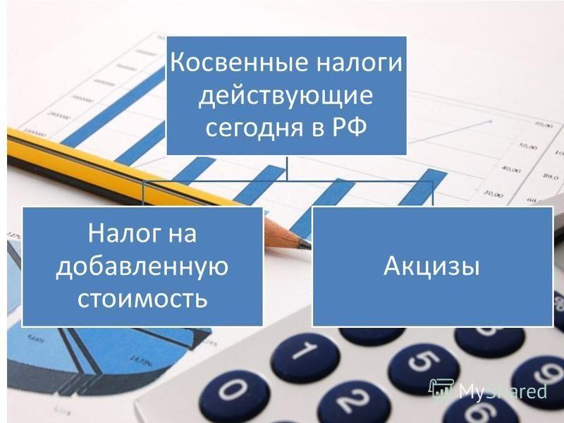 Косвенные налоги действующие сегодня в РФ Налог на добавленную стоимость Акцизы