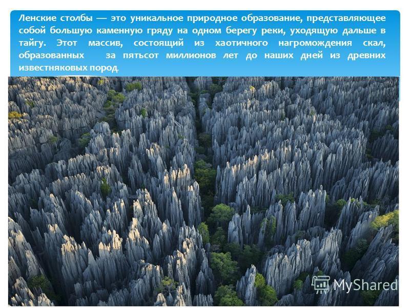 Леленские столбы это уникальное природное образование, представляющее собой большую каменную гряду на одном берегу реки, уходящую дальше в тайгу. Этот массив, состоящий из хаотичного нагромождения скал, образованных за пятьсот миллионов лет до наших