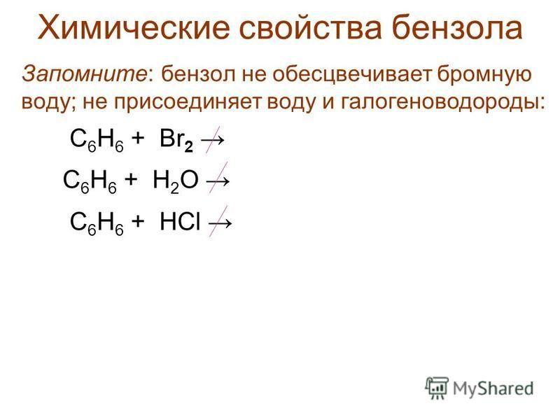 Химические свойства бензола Запомните: бензол не обесцвечивает бромную воду; не присоединяет воду и галогеноводороды: С 6 Н 6 + Br 2 С 6 Н 6 + Н 2 О С 6 Н 6 + HCl