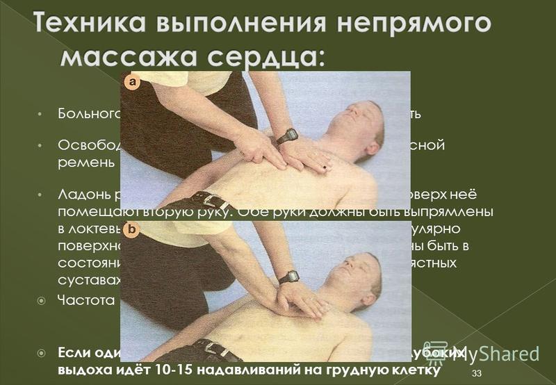 33 Больного уложить спиной на твёрдую поверхность Освободить от верхней одежды, расстегнуть поясной ремень Ладонь руки кладут на нижнюю треть грудины, поверх неё помещают вторую руку. Обе руки должны быть выпрямлены в локтевых суставах и располагаютс