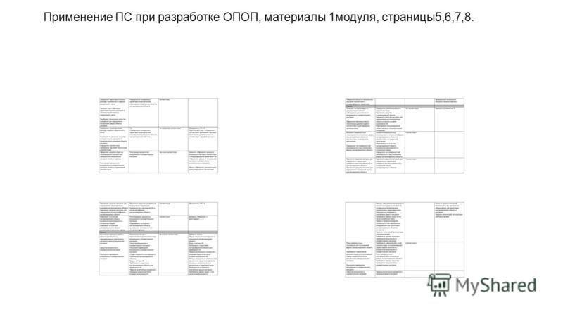 Применение ПС при разработке ОПОП, материалы 1 модуля, страницы 5,6,7,8.