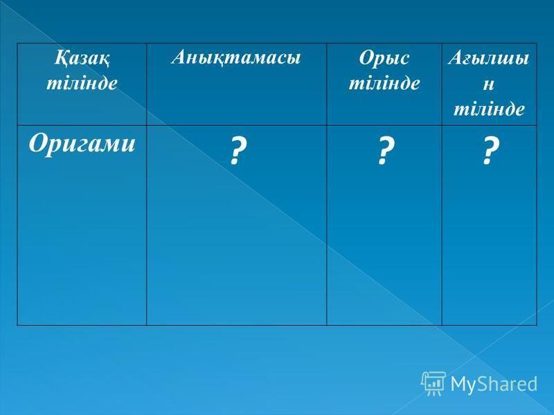 Қазақ тілінде Анықтамасы Орыс тілінде Ағылшы н тілінде Оригами ???