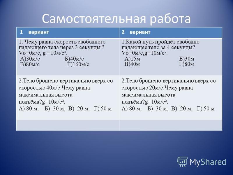 1 вариант 2 вариант 1. Чему равна скорость свободного падающего тела через 3 секунды ? Vø=0 м/с, g =10 м/с². А)30 м/с Б)40 м/с В)80 м/с Г)160 м/с 1. Какой путь пройдёт свободно падающее тело за 4 секунды? Vø=0 м/с,g=10 м/с². А)15 м Б)30 м В)40 м Г)80