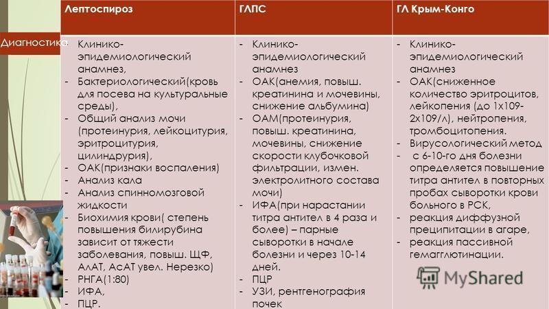 ЛептоспирозГЛПСГЛ Крым-Конго -Клинико- эпидемиологический анамнез, -Бактериологический(кровь для посева на культуральные среды), -Общий анализ мочи (протеинурия, лейкоцитурия, эритроцитурия, цилиндрурия), -ОАК(признаки воспаления) -Анализ кала -Анали