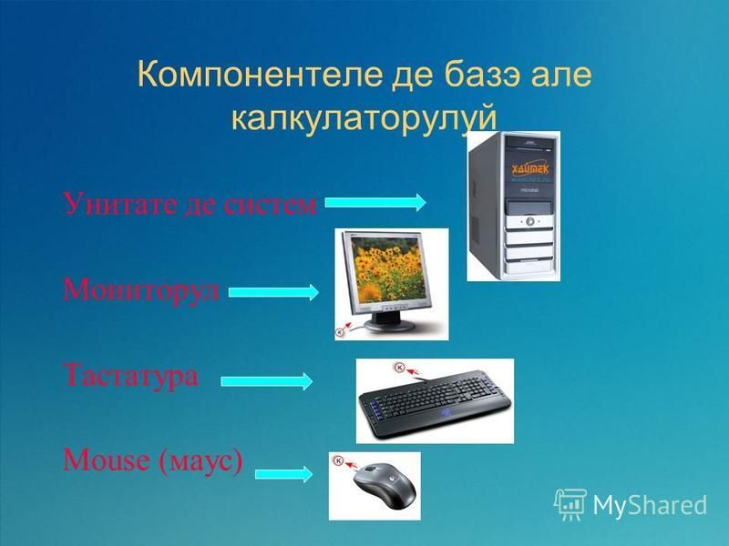 Компонентеле де база але калькуляторулуи Унитате де систем Мониторул Тастатура Mouse (маус)