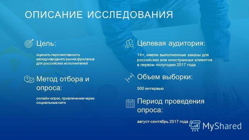 ОПИСАНИЕ ИССЛЕДОВАНИЯ Цель: оценить перспективность международного рынка фриланса для российских исполнителей Метод отбора и опроса: онлайн-опрос, привлечение через социальные сети Целевая аудитория: 14+, имели выполненные заказы для российских или и