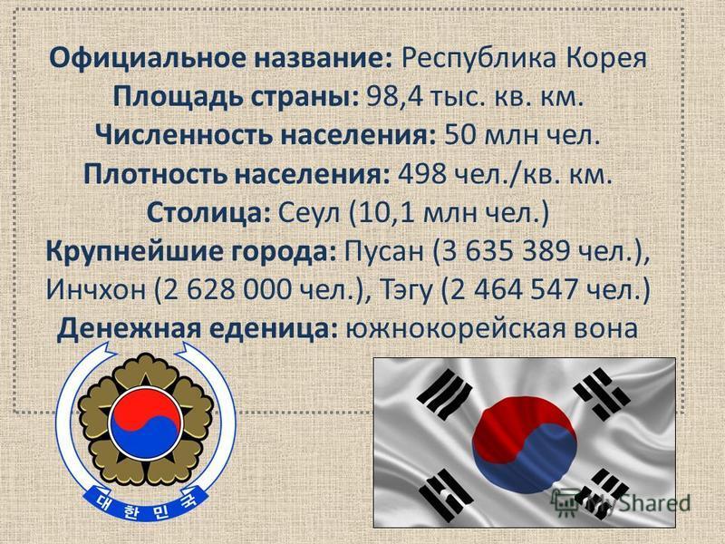 Официальное название: Республика Корея Площадь страны: 98,4 тыс. кв. км. Численность населения: 50 млн чел. Плотность населения: 498 чел./кв. км. Столица: Сеул (10,1 млн чел.) Крупнейшие города: Пусан (3 635 389 чел.), Инчхон (2 628 000 чел.), Тэгу (
