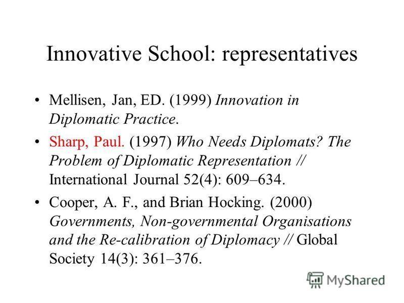 Innovative School: representatives Mellisen, Jan, ED. (1999) Innovation in Diplomatic Practice. Sharp, Paul. (1997) Who Needs Diplomats? The Problem of Diplomatic Representation // International Journal 52(4): 609–634. Cooper, A. F., and Brian Hockin