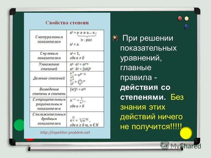 При решении показательных уравнений, главные правила - действия со степенями. Без знания этих действий ничего не получится!!!!!