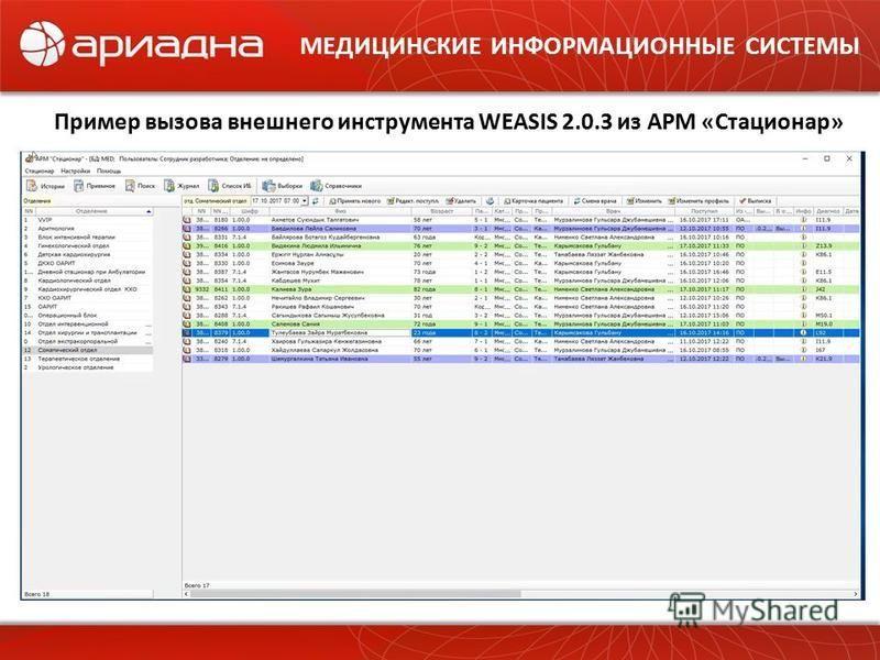 МЕДИЦИНСКИЕ ИНФОРМАЦИОННЫЕ СИСТЕМЫ Пример вызова внешнего инструмента WEASIS 2.0.3 из АРМ «Стационар»