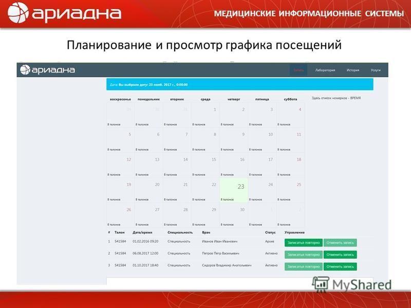 МЕДИЦИНСКИЕ ИНФОРМАЦИОННЫЕ СИСТЕМЫ Планирование и просмотр графика посещений
