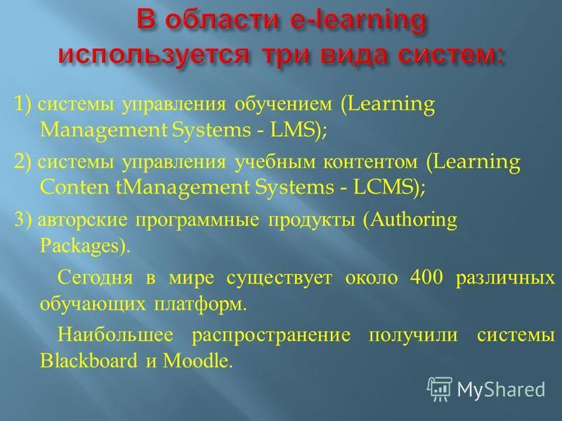 1) системы управления обучением (Learning Management Systems - LMS); 2) системы управления учебным контентом (Learning Conten tManagement Systems - LCMS); 3) авторские программные продукты (Authoring Packages). Сегодня в мире существует около 400 раз