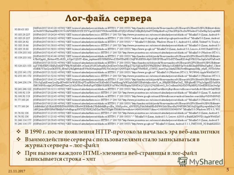 Лог-файл сервера В 1990 г. после появления HTTP-протокола началась эра веб-аналитики Взаимодействие сервера с пользователями стало записываться в журнал сервера – лог-файл При вызове каждого HTML-элемента веб-страницы в лог-файл записывается строка –