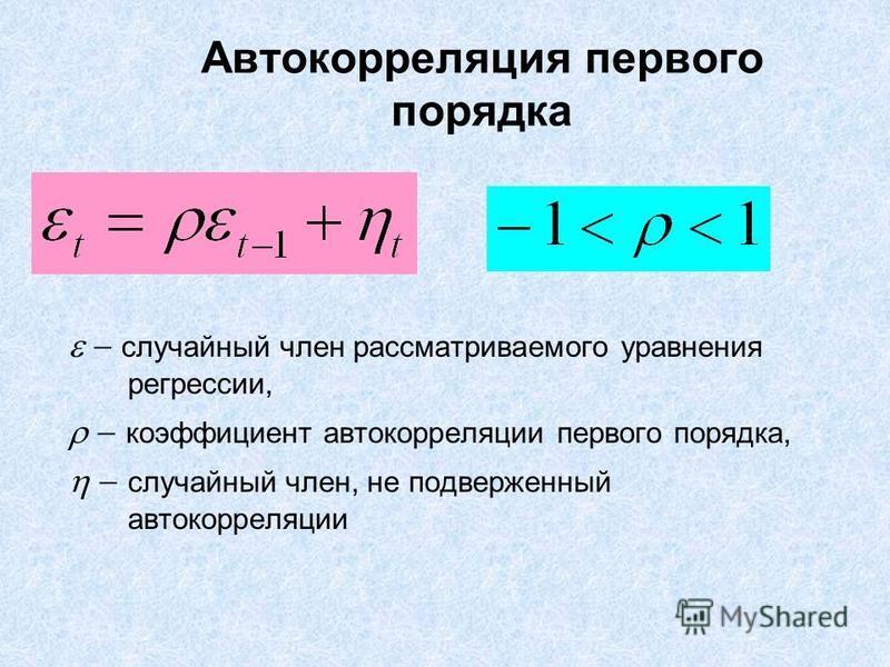 Автокорреляция первого порядка случайный член рассматриваемого уравнения регрессии, коэффициент автокорреляции первого порядка, случайный член, не подверженный автокорреляции
