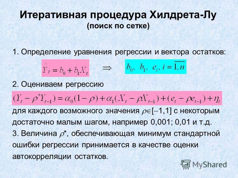 Итеративная процедура Хилдрета-Лу (поиск по сетке) 1. Определение уравнения регрессии и вектора остатков: 2. Оцениваем регрессию для каждого возможного значения [ 1,1] с некоторым достаточно малым шагом, например 0,001; 0,01 и т.д. 3. Величина *, обе