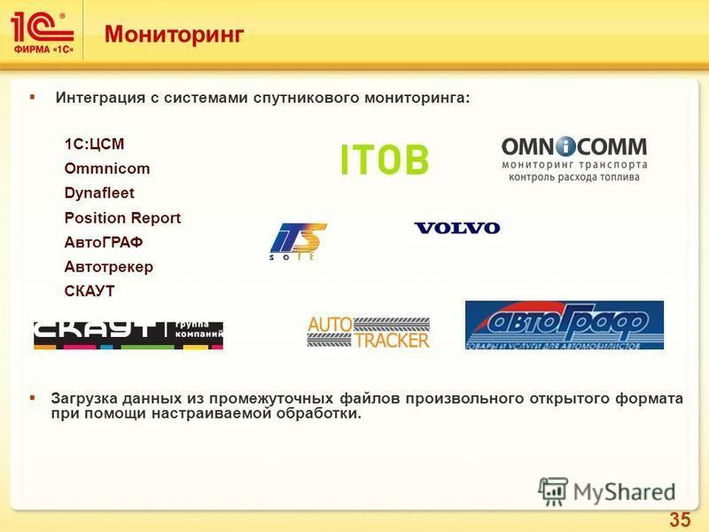 35 Интеграция с системами спутникового мониторинга: 1С:ЦСМ Ommnicom Dynafleet Position Report АвтоГРАФ Автотрекер СКАУТ Загрузка данных из промежуточных файлов произвольного открытого формата при помощи настраиваемой обработки. Мониторинг
