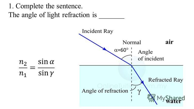 1. Complete the sentence. The angle of light refraction is _______ =60 air water