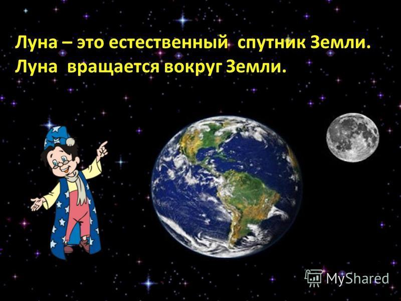 Луна – это естественный спутник Земли. Луна вращается вокруг Земли.