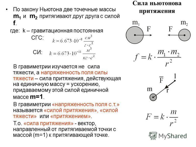 Сила ньютонова притяжения По закону Ньютона две точечные массы m 1 и m 2 притягивают друг друга с силой f. где: k – гравитационная постоянная СГС: СИ: В гравиметрии изучается не сила тяжести, а напряженность поля силы тяжести – сила притяжения, дейст