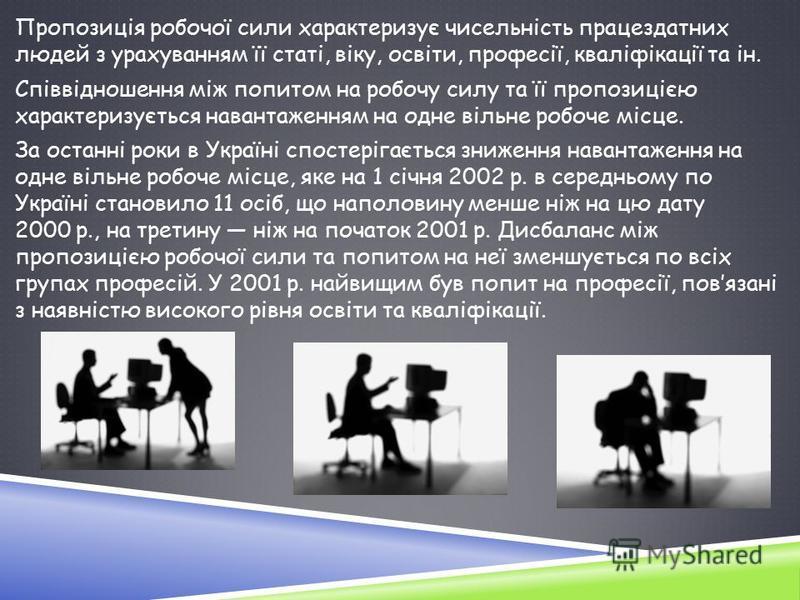 Пропозиція робочої сили характеризує чисельність працездатних людей з урахуванням її статі, віку, освіти, професії, кваліфікації та ін. Співвідношення між попитом на робочу силу та її пропозицією характеризується навантаженням на одне вільне робоче м
