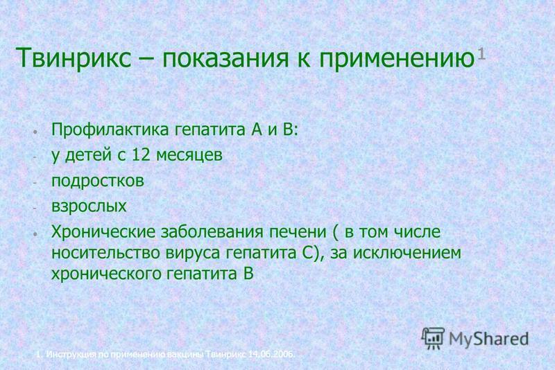 Твинрикс – показания к применению¹ Профилактика гепатита А и В: - у детей с 12 месяцев - подростков - взрослых Хронические заболевания печени ( в том числе носительство вируса гепатита С), за исключением хронического гепатита В 1. Инструкция по приме