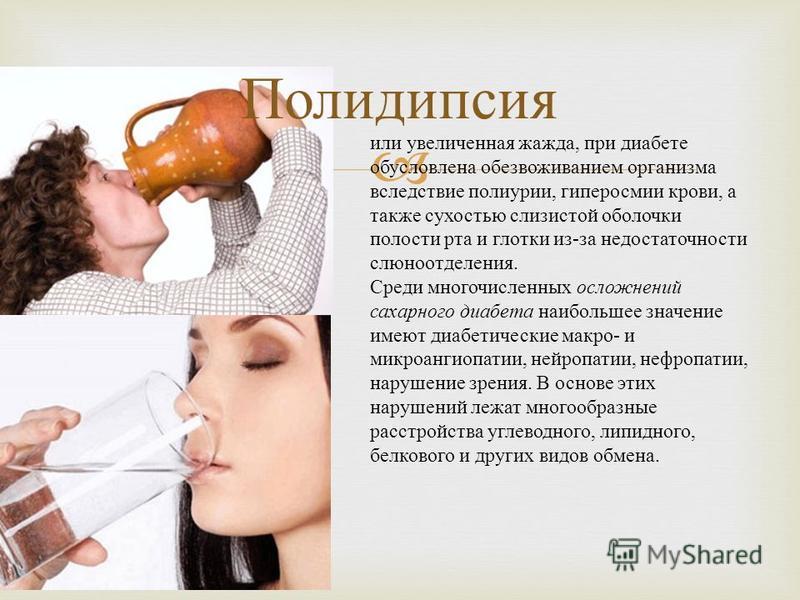 Полидипсия или увеличенная жажда, при диабете обусловлена обезвоживанием организма вследствие полиурии, гиперосмии крови, а также сухостью слизистой оболочки полости рта и глотки из - за недостаточности слюноотделения. Среди многочисленных осложнений