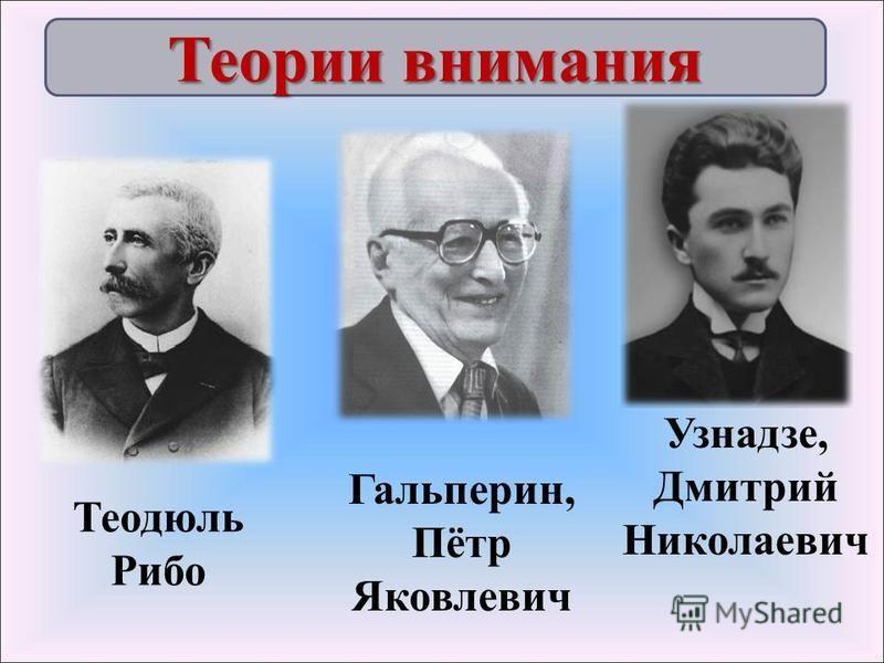 Теодюль Рибо Узнадзе, Дмитрий Николаевич Гальперин, Пётр Яковлевич Теории внимания