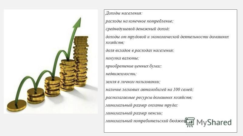 Доходы населения: расходы на конечное потребление; среднедушевой денежный доход; доходы от трудовой и экономической деятельности домашних хозяйств; доля вкладов в расходах населения; покупка валюты; приобретение ценных бумаг; недвижимость; земля в ли